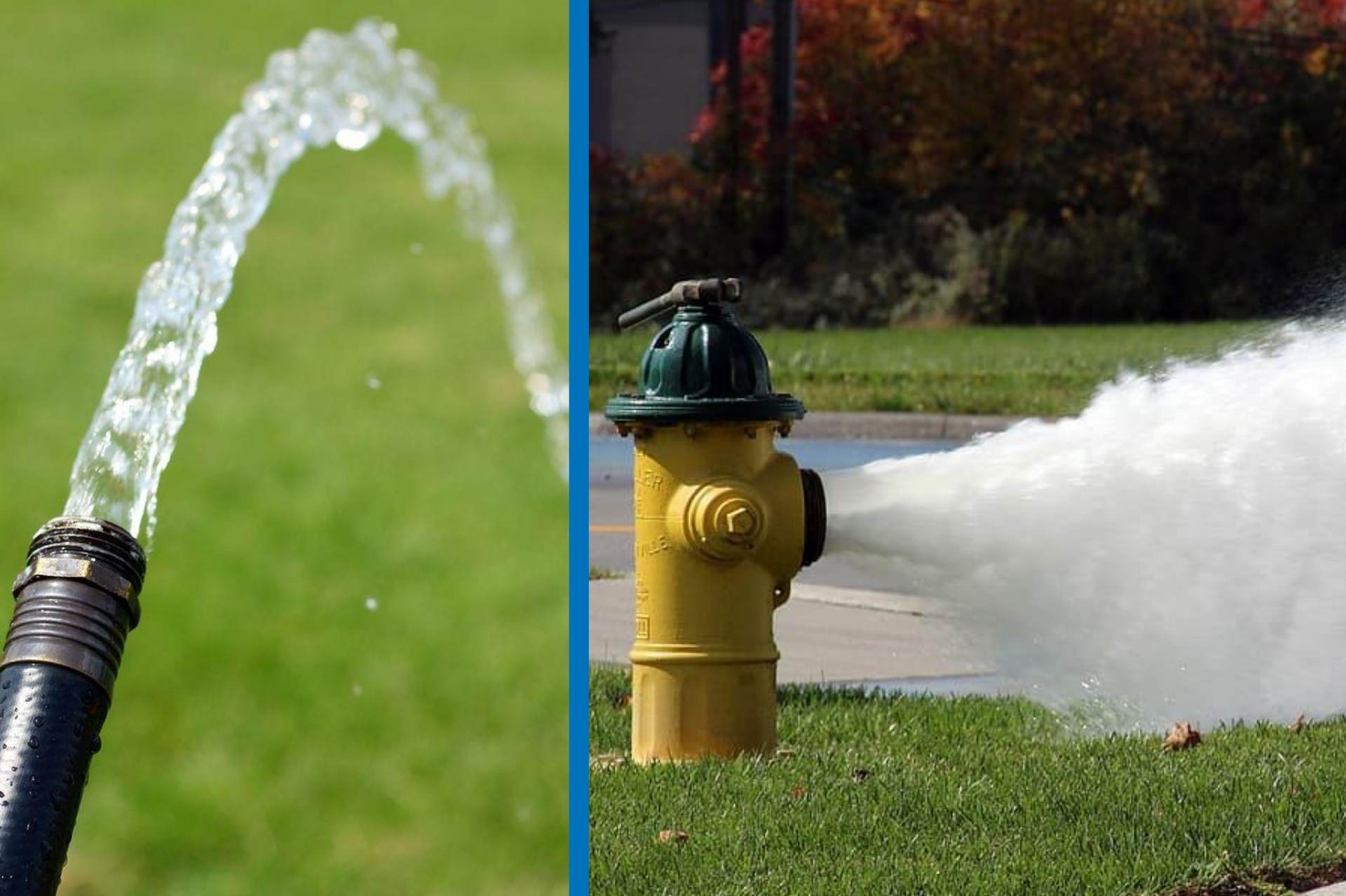 A small stream of water from a garden hose compared against a flowing hydrant to demonstrate the concept of bandwidth